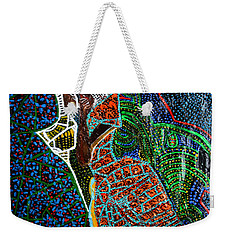 Weekender Tote Bag featuring the painting The Annunciation by Gloria Ssali