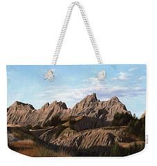 The Badlands In South Dakota Oil Painting Weekender Tote Bag