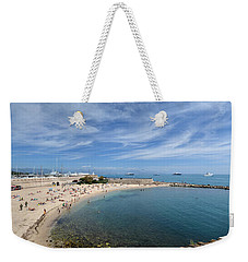Weekender Tote Bag featuring the photograph The Beach At Cap D' Antibes by Allen Sheffield