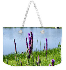 Weekender Tote Bag featuring the photograph The Beauty Of The Liatris by Verana Stark