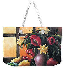 Weekender Tote Bag featuring the painting The Beauty Of The Moment   by Vesna Martinjak