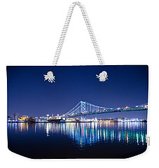 Weekender Tote Bag featuring the photograph The Benjamin Franklin Bridge At Night by Bill Cannon