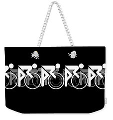 Weekender Tote Bag featuring the digital art The Bicycle Race 2 Black by Brian Carson