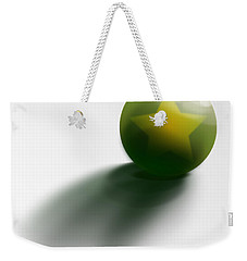 Weekender Tote Bag featuring the digital art Green Ball Decorated With Star White Background by R Muirhead Art