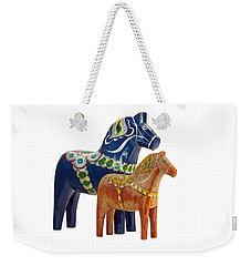The Blue And Red Dala Horse Weekender Tote Bag by Torbjorn Swenelius