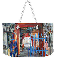 Weekender Tote Bag featuring the painting The Blue Gate by Marina Gnetetsky