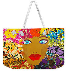Weekender Tote Bag featuring the tapestry - textile The Bluest Eyes by Apanaki Temitayo M