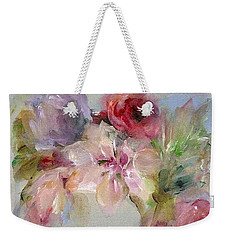 Weekender Tote Bag featuring the painting The Bouquet by Mary Wolf