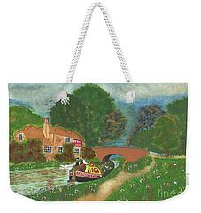 Weekender Tote Bag featuring the painting The Bridge Inn by John Williams