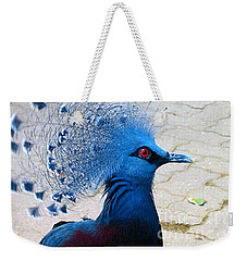 Weekender Tote Bag featuring the photograph The Bright Blue Bird by Nina Silver