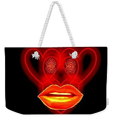 Weekender Tote Bag featuring the digital art The Broadcast Monkey Hearts by Catherine Lott