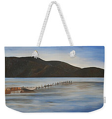 Weekender Tote Bag featuring the painting The Calm Water Of Akyaka by Tracey Harrington-Simpson