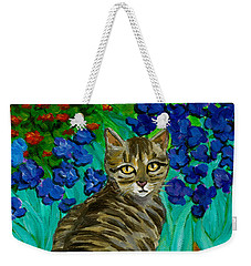 Weekender Tote Bag featuring the painting The Cat At Van Gogh's Irises Garden by Jingfen Hwu