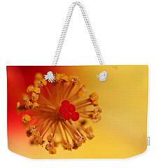 Weekender Tote Bag featuring the photograph The Center Of The Hibiscus Flower by Debbie Oppermann