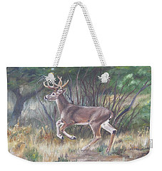 Weekender Tote Bag featuring the painting The Chase Is On by Lori Brackett