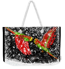 Weekender Tote Bag featuring the painting The Christmas Keets by Jean Pacheco Ravinski