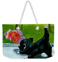 Weekender Tote Bag featuring the painting The Close Encounter Of A Cat And Fish by Jingfen Hwu