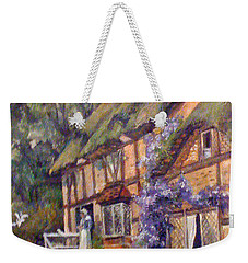 Weekender Tote Bag featuring the painting The Cottage by Donna Tucker