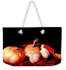 New Orleans Onions, Garlic, Red Chili Pepper Used In Creole Cooking A Still Life Weekender Tote Bag