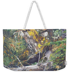 Weekender Tote Bag featuring the painting The Crying Log by Lori Brackett