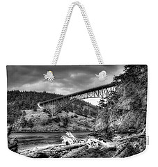 The Deception Pass Bridge II Bw Weekender Tote Bag by David Patterson