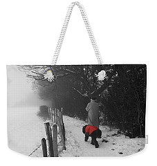Weekender Tote Bag featuring the photograph The Dog In The Red Coat by Vicki Spindler