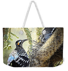 The Dove Vs. The Roadrunner Weekender Tote Bag by Saija  Lehtonen
