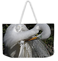 The Elegant Egret Weekender Tote Bag