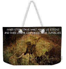 Weekender Tote Bag featuring the digital art The Elephant - Inner Strength by Absinthe Art By Michelle LeAnn Scott