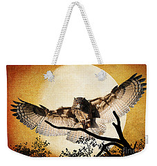 The Eurasian Eagle Owl And The Moon Weekender Tote Bag