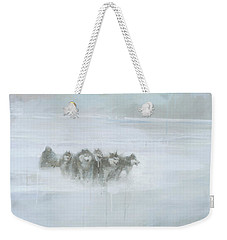 Weekender Tote Bag featuring the painting The Explorer by Steve Mitchell
