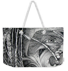 Weekender Tote Bag featuring the drawing The Eye Of The Fomorii - Regrouping For The Battle by Otto Rapp
