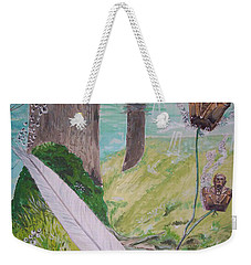 Weekender Tote Bag featuring the painting The Feather And The Word La Pluma Y La Palabra by Lazaro Hurtado
