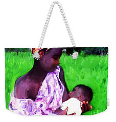 Weekender Tote Bag featuring the painting The Feeding 2 by Vannetta Ferguson