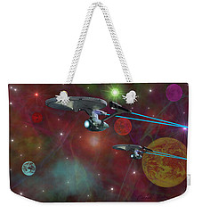 Weekender Tote Bag featuring the digital art The Final Frontier by Michael Rucker