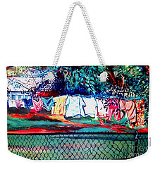 Weekender Tote Bag featuring the painting The First Clothing Line  by Ecinja