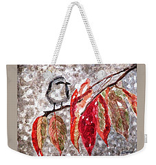 Weekender Tote Bag featuring the painting The First Snow by Angela Davies