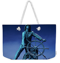 Weekender Tote Bag featuring the photograph The Fisherman Statue Gloucester by Tom Wurl