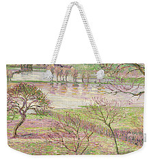 The Flood At Eragny Weekender Tote Bag by Camille Pissarro