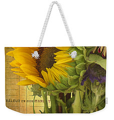 Weekender Tote Bag featuring the photograph The Flower Market by Priscilla Burgers