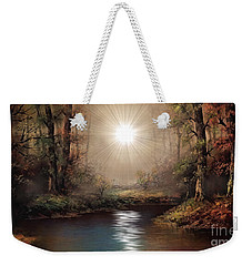 Weekender Tote Bag featuring the painting Sunrise Forest  by Michael Rucker