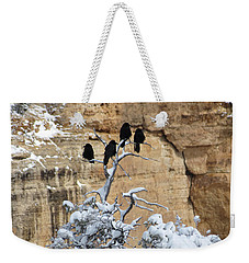 Weekender Tote Bag featuring the photograph The Four Crows by Laurel Powell