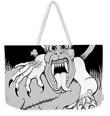 Weekender Tote Bag featuring the digital art The Fox's Fiend  by Carol Jacobs