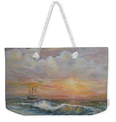 Weekender Tote Bag featuring the painting Sunlit  Frigate by Katalin Luczay