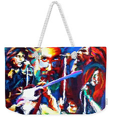 Weekender Tote Bag featuring the photograph The Gang In Oils by Kelly Awad