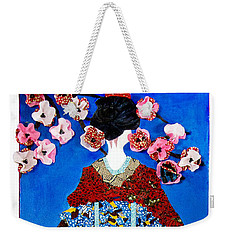 Weekender Tote Bag featuring the tapestry - textile The Geisha by Apanaki Temitayo M