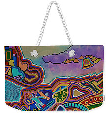 Weekender Tote Bag featuring the painting The Genie Is Out Of The Bottle by Barbara St Jean
