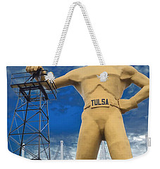 The Golden Driller - Tulsa Oklahoma Weekender Tote Bag by Deena Stoddard
