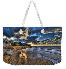 the golden hour during sunset at Israel Weekender Tote Bag