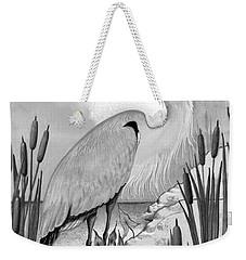 Weekender Tote Bag featuring the digital art The Great Blue In Grey by Carol Jacobs